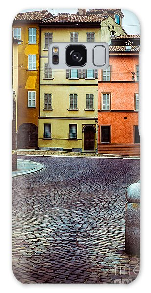 Deserted Street With Colored Houses In Parma Italy Galaxy Case