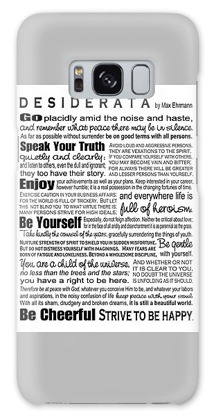 Desiderata - Black On White Galaxy Case