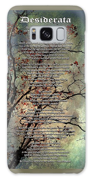 Desiderata Inspiration Over Old Textured Tree Galaxy Case by Christina Rollo