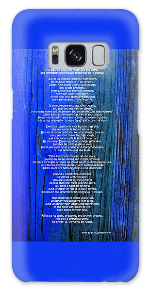 Desiderata On Blue Galaxy Case by Leena Pekkalainen