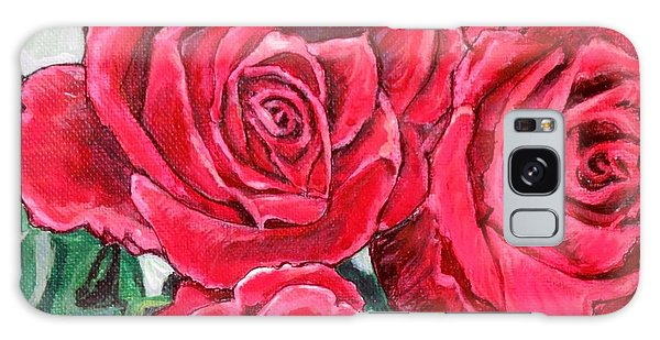 Detail Of The Delight Of Grandma's Roses Painting Galaxy Case by Kimberlee Baxter