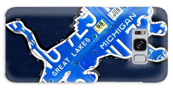 Usa Galaxy Case - Detroit Lions Football Team Retro Logo License Plate Art by Design Turnpike