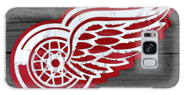 Recycle Galaxy Case - Detroit Red Wings Recycled Vintage Michigan License Plate Fan Art On Distressed Wood by Design Turnpike