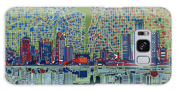 Detroit Skyline Abstract 3 Galaxy Case