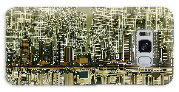 Detroit Skyline Abstract 4 Galaxy Case