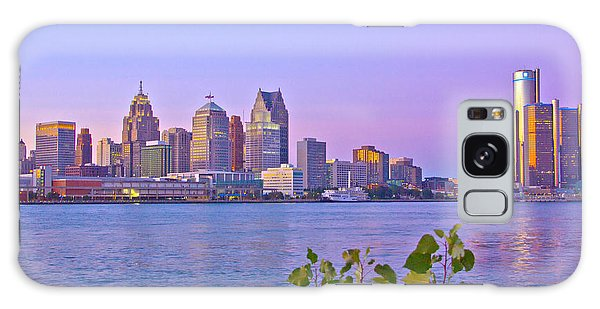 Detroit Skyline At Sunset Galaxy Case by Bill Woodstock