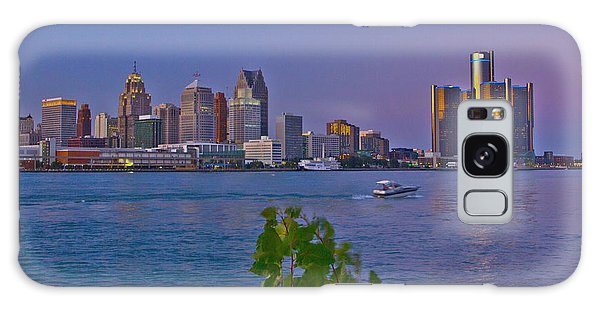 Detroit Skyline At Twilite With Boat Galaxy Case by Bill Woodstock