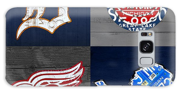Detroit Sports Fan Recycled Vintage Michigan License Plate Art Tigers Pistons Red Wings Lions Galaxy Case