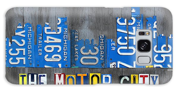 Motor City Galaxy Case - Detroit The Motor City Skyline License Plate Art On Gray Wood Boards  by Design Turnpike