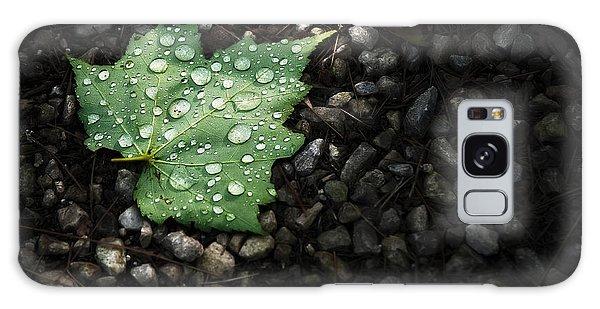 Green Leaf Galaxy Case - Dew On Leaf by Scott Norris