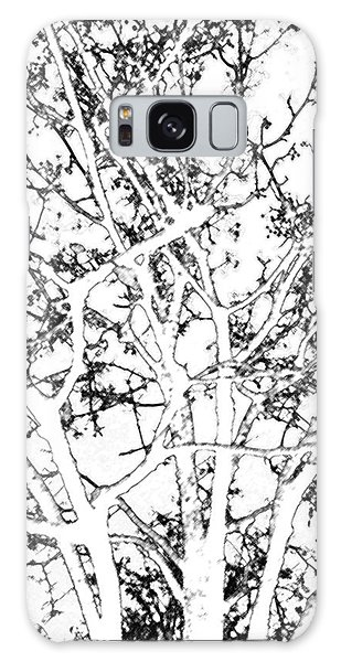 Digital Charcoal Of Winter Tree Galaxy Case
