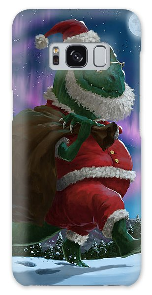 Dinosaur Christmas Santa Out In The Snow Galaxy Case by Martin Davey