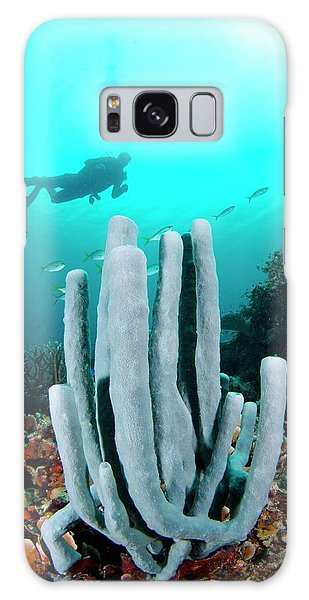 Ecosystem Galaxy Case - Diver Swimming Over A Tube Sponge by Scubazoo