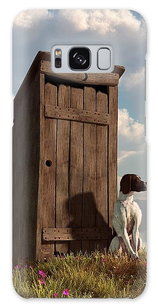 Dog Guarding An Outhouse Galaxy Case