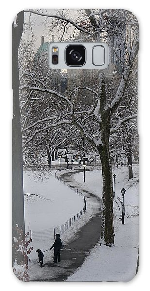 Dog Walking In A Snowy Central Park Galaxy Case