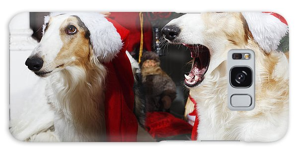 dogs Borzoi puppies and Christmas greetings Galaxy Case by Christian Lagereek