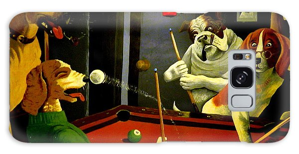 Dogs Playing Pool Wall Art Unknown Painter Galaxy Case by Kathy Barney
