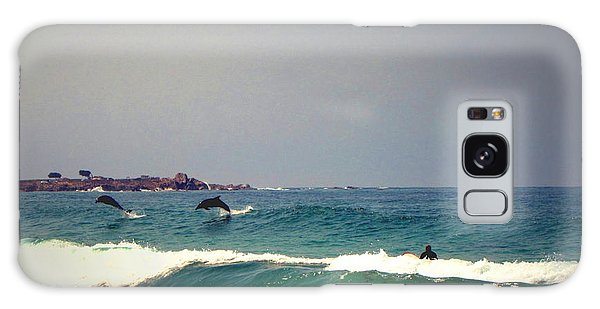 Dolphins Swimming With The Surfers At Asilomar State Beach  Galaxy Case by Joyce Dickens