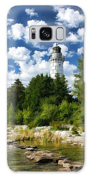 Cana Island Lighthouse Cloudscape In Door County Galaxy Case