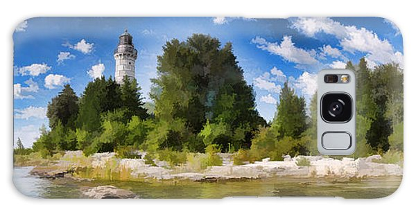 Door County Cana Island Lighthouse Panorama Galaxy Case