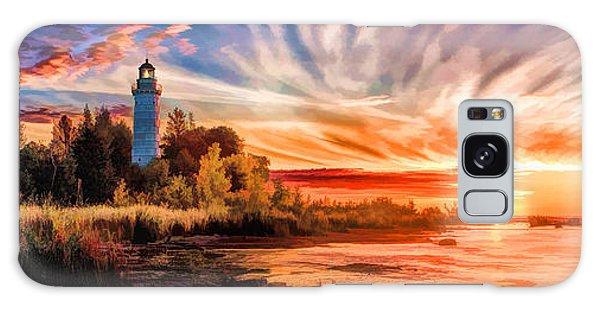 Door County Cana Island Lighthouse Sunrise Panorama Galaxy Case