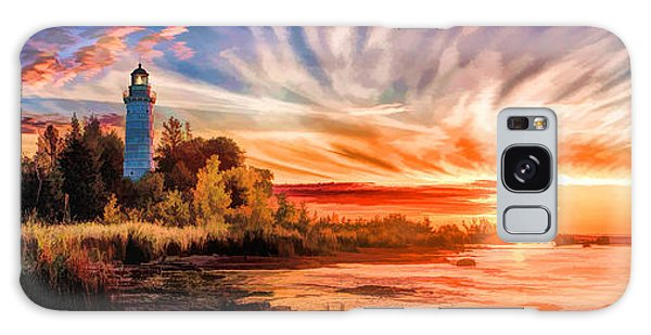 Door County Cana Island Lighthouse Sunrise Panorama Galaxy Case