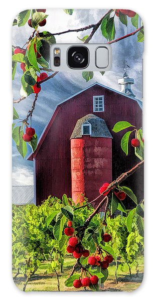 Galaxy Case featuring the painting Door County Cherry Harvest Red Barn by Christopher Arndt