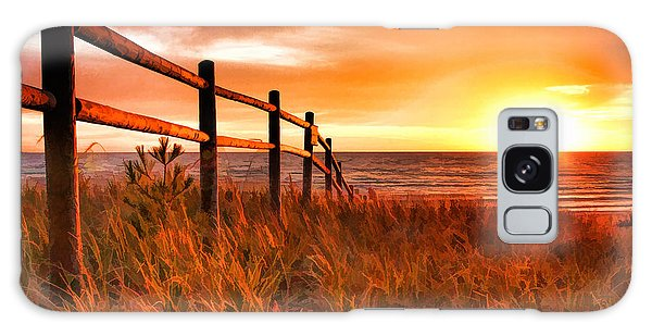 Door County Europe Bay Fence Sunrise Galaxy Case