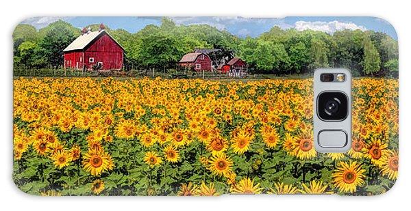 Door County Field Of Sunflowers Panorama Galaxy Case
