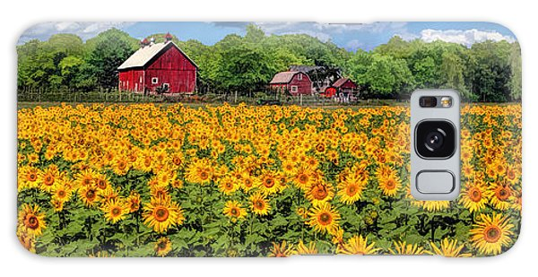 Door County Field Of Sunflowers Panorama Galaxy Case