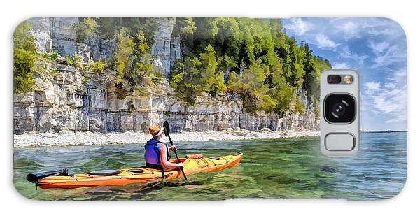 Galaxy Case featuring the painting Door County Kayaking Around Rock Island State Park by Christopher Arndt