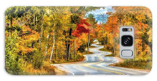 Door County Road To Northport In Autumn Galaxy Case