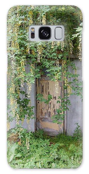 Door Hidden By Flowers Galaxy Case by Linda Prewer