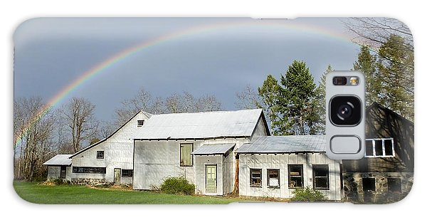 Galaxy Case featuring the photograph Double Rainbow Over Barn by Kristen Fox