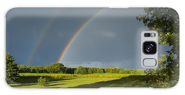Double Rainbow Over Fields Galaxy Case