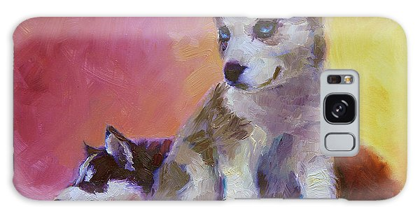 Double Trouble - Alaskan Husky Sled Dog Puppies Galaxy Case