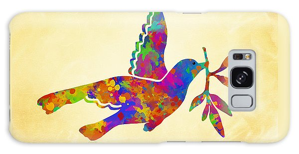 Dove With Olive Branch Galaxy Case by Christina Rollo