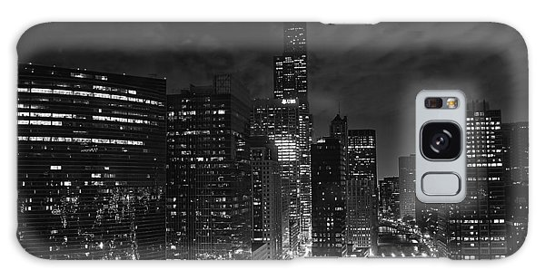 Downtown Chicago At Night Galaxy Case
