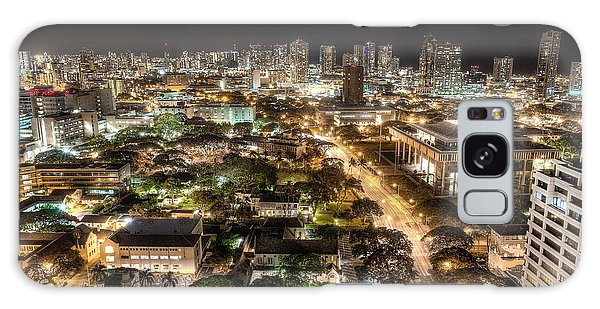 Downtown Honolulu Moonrise Galaxy Case