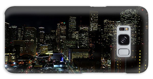 Downtown Houston At Night Galaxy Case by Judy Vincent
