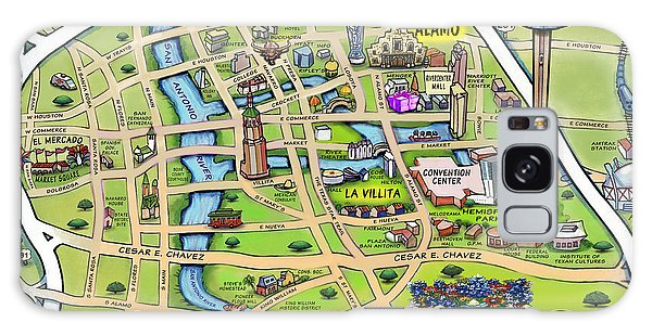 Downtown San Antonio Texas Cartoon Map Galaxy Case