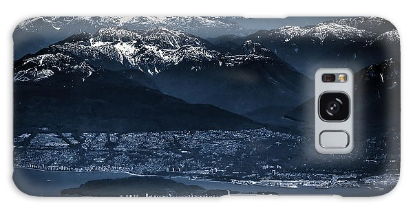Downtown Vancouver And The Mountains Aerial View Low Key Galaxy Case by Eti Reid