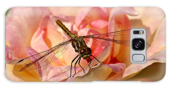 Dragonfly On A Rose Galaxy Case