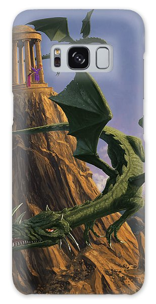 Dragons Flying Around A Temple On Mountain Top  Galaxy Case