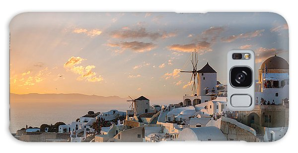 Dramatic Sunset Over The Windmills Of Oia Village In Santorini Galaxy Case