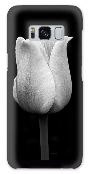 Marie Galaxy Case - Dramatic Tulip Flower Black And White by Jennie Marie Schell