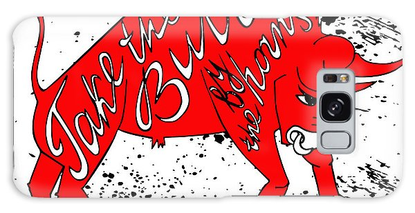 Bull Art Galaxy Case - Drawing Red Angry Bull On The Grunge by Ana Babii