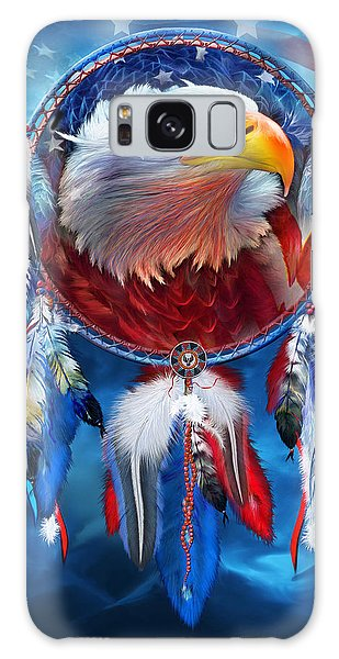 Galaxy Case featuring the mixed media Dream Catcher - Eagle Red White Blue by Carol Cavalaris