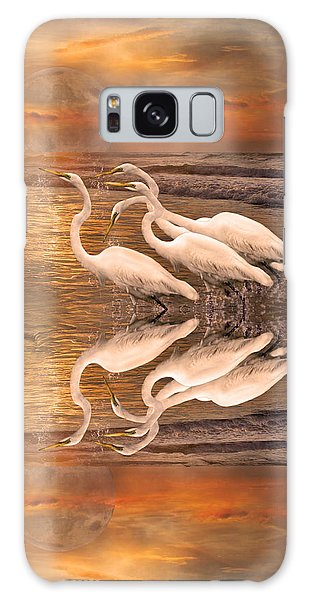 Dreaming Of Egrets By The Sea Reflection Galaxy Case by Betsy Knapp