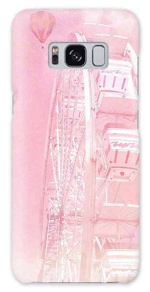 Dreamy Baby Pink Ferris Wheel Carnival Art With Hot Air Balloons Galaxy Case